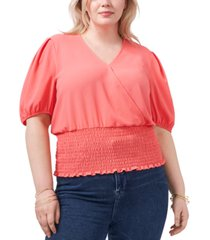1.state plus size smocked-waist printed top