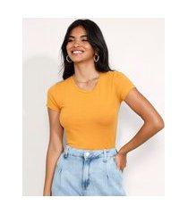 camiseta feminina básico manga curta decote redondo mostarda