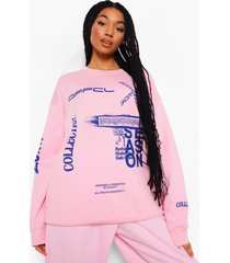 official oversized sweater, roze