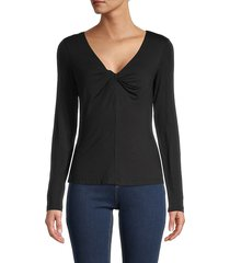 bailey 44 women's priscilla knotted long-sleeve top - black - size xs