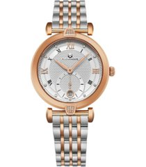 alexander watch ad202b-03, ladies quartz small-second date watch with rose gold tone stainless steel case with stainless steel and rose gold tone stainless steel bracelet
