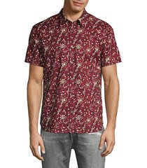 john varvatos men's jasper regular-fit floral shirt - crimson - size s