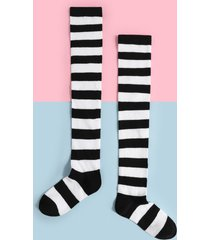 media a rayas por encima de la rodilla calcetines