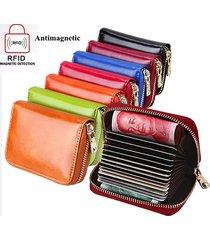 portafoglio in pelle vera oleata con rfid antimagnetico con 13 card slots portacarte portamonete