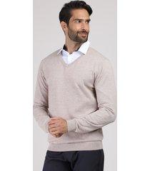 suéter masculino em tricô gola v kaki