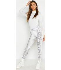 snake print white legging, white