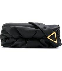 bottega veneta triangular buckle crossbody bag - black