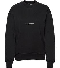 karl essential logo sweatshirt sweat-shirt tröja svart karl lagerfeld