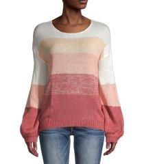 70/21 women's panel stripe lantern-sleeve sweater - stripe - size l