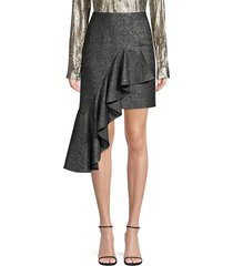 michael kors collection women's cascade metallic wool ruffle mini skirt - silver black - size 4
