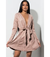 akira covet faux suede trench dress