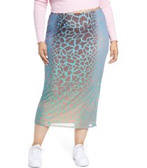 plus size women's afrm felix power mesh skirt, size 1x - brown