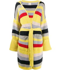 fine edge striped belted cardigan - blue