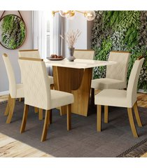 mesa de jantar 6 lugares denise nature/off white/linho - bci móveis