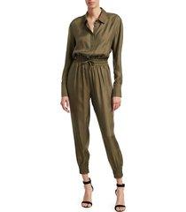 cinq à sept women's joyce twill jumpsuit - olive - size s