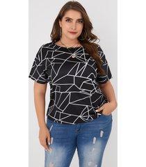 camiseta de manga corta con cuello redondo geométrico negro de talla grande