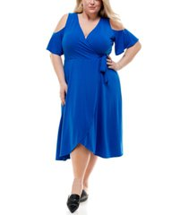 kingston grey trendy plus size cold-shoulder fit & flare dress