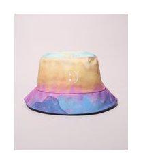 chapéu masculino bucket estampado tie dye com bordado de carinha multicor