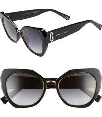 women's the marc jacobs 53mm cat eye sunglasses - white stripe