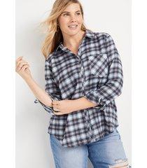 maurices plus size womens cabin plaid super soft black combo button down shirt