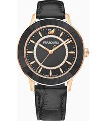 orologio octea lux, cinturino in pelle, nero, pvd oro rosa
