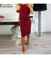 zanzea mujeres pajarita informal midi vestido de tirantes más el tamaño de la oficina del club del vestido del partido -rojo