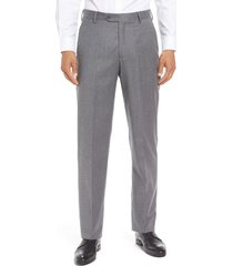 men's berle flat front classic fit solid wool dress pants, size 42 x unhemmed - grey