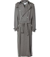 burberry cargo pocket detail trench coat - grey