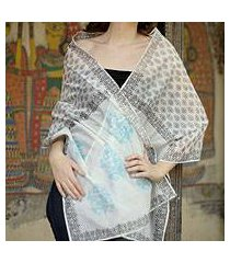 cotton and silk shawl, 'myriad bouquets' (india)