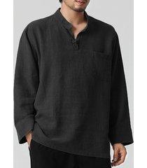 hombres algodón lino botón frente soporte collar camisa