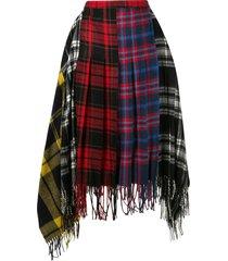 juun.j plaid pattern asymmetric skirt - multicolour