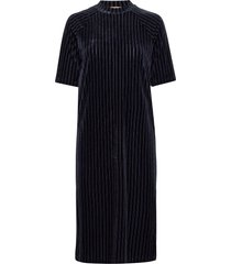 midi length dress in striped velvet quality knälång klänning blå scotch & soda