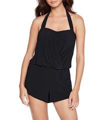 women's magicsuit brooke solid one-piece romper swimsuit, size 8 - black