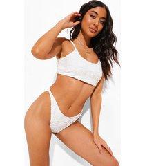 mix & match badstoffen bikini top met laag rond decolleté en reliëf, ecru