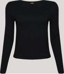 blusa feminina básica manga longa decote redondo preto