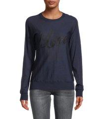 zadig & voltaire women's crisp love merino wool sweatshirt - marine - size l