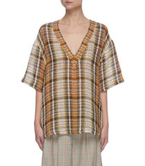 v-neck check oversize blouse