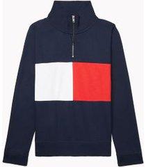 tommy hilfiger women's adaptive flag mockneck sweatshirt masters navy multi - xl