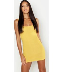basic square neck bodycon mini dress, mustard