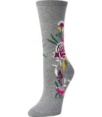 natori midnight garden socks, women's, grey, cotton natori