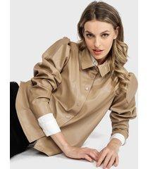 blusa jacqueline de yong marrón - calce holgado