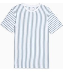 mens white and blue vertical stripe t-shirt
