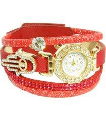 reloj pulsera rojo hamsa re-26403