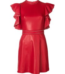 alexander mcqueen leather studded mini dress - red