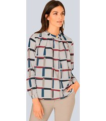 blouse alba moda offwhite::beige::rood::blauw