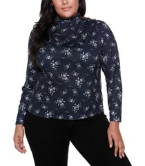belldini black label plus size mock neck long sleeve floral top
