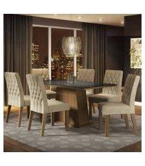 conjunto sala de jantar madesa rafaela mesa tampo de vidro com 6 cadeiras rustic/preto/imperial