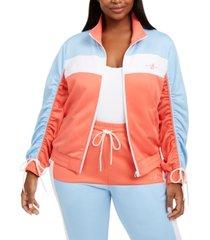 lala anthony trendy plus size colorblocked stretch-knit jacket