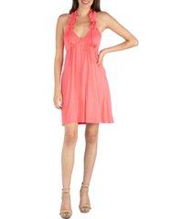 24seven comfort apparel halter top knee length dress with ruffle detail