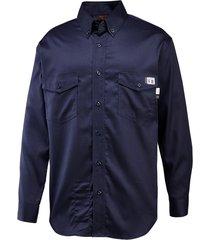 wolverine men's fr twill long sleeve shirt navy, size xxl